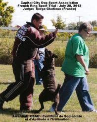 Dutch Shepherd CH Cher Car's Snap Decision earning her CSAU title in French Ring Sport