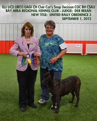 Dutch Shepherd CH Cher Car's Snap Decision earning her URO3 title in UKC Rally Obedience