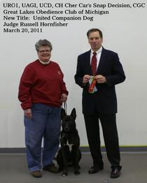 Dutch Shepherd CH Cher Car's Snap Decision earning her United Companion Dog title in UKC Obedience